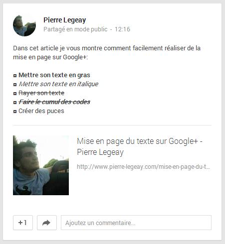 Mise en page du texte sur Google+ - Pierre Legeay