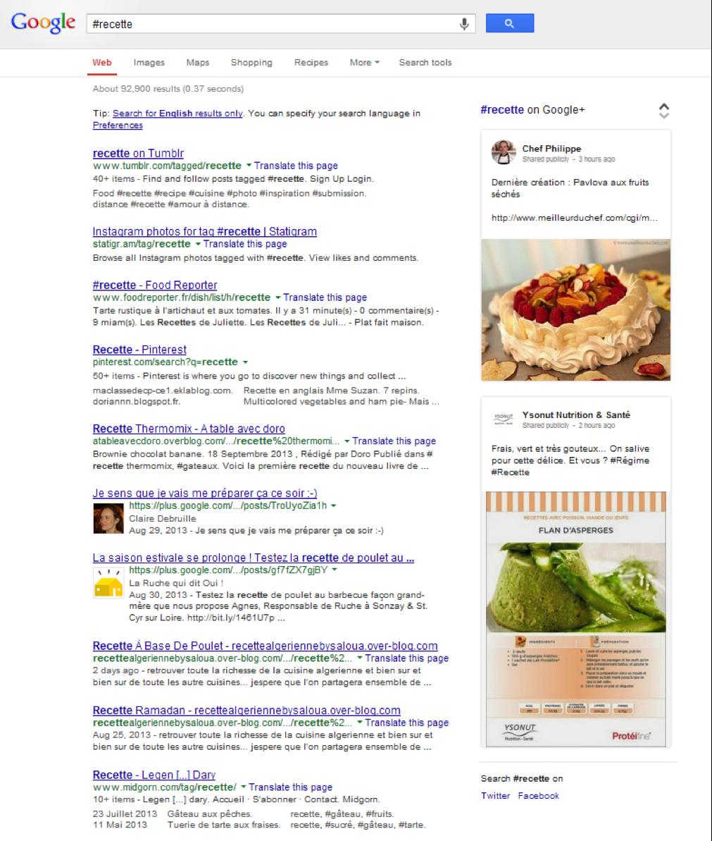 Hashtag dans les recherches Google - Pierre Legeay