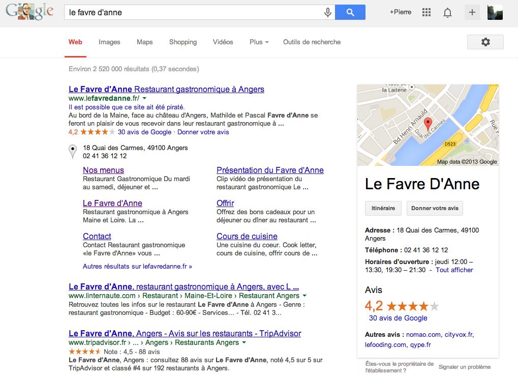 Impression écran d'une recherche d'un restaurant - Pierre Legeay