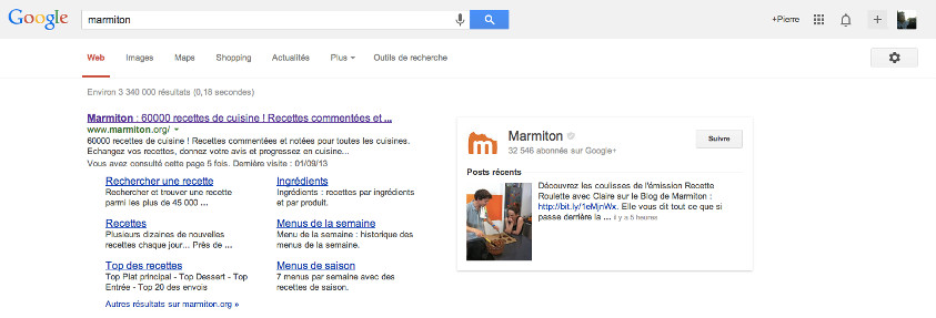 Recherche Marmiton Google+ - Pierre Legeay