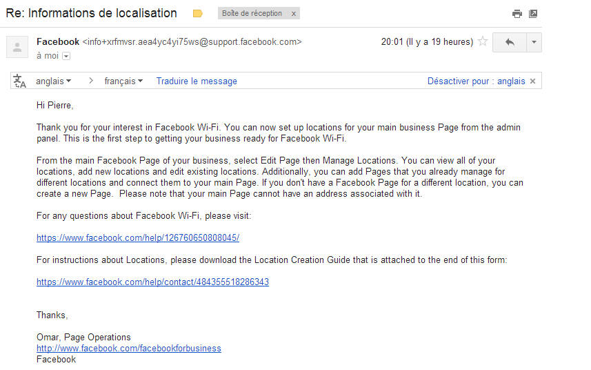Mail de Confirmation Facebook - Pierre Legeay