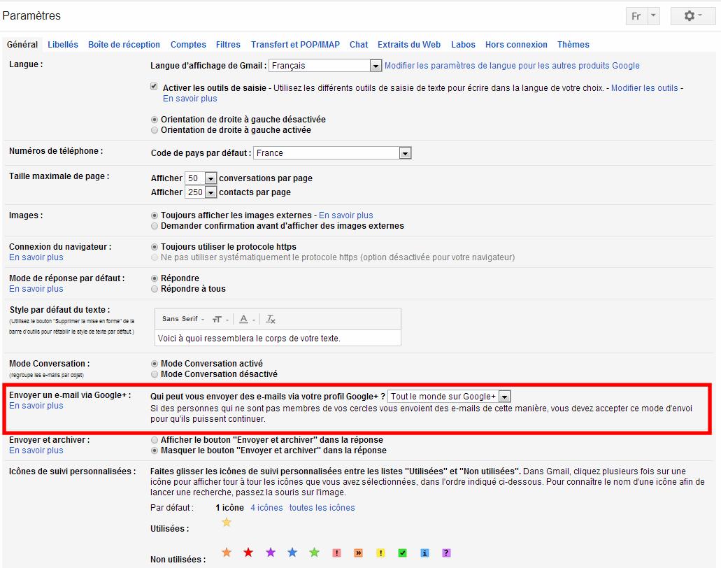 Modifier les paramètres mail par Google+ - Pierre Legeay