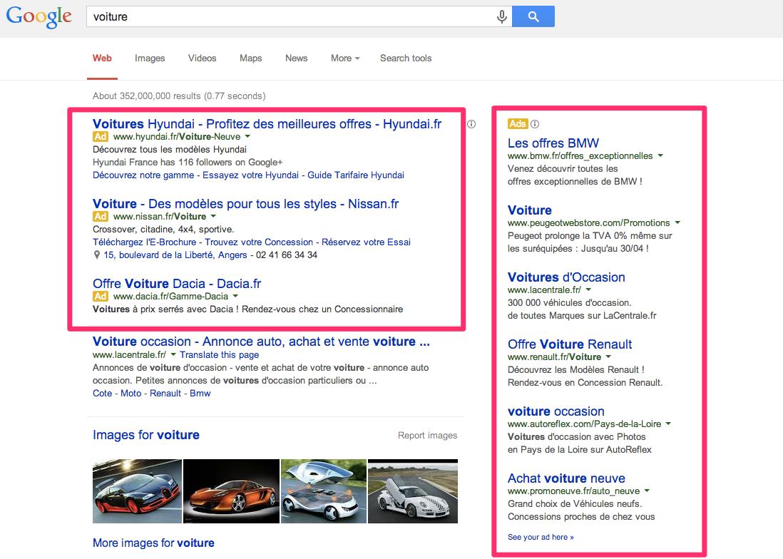 Google Ad Grant Recherche Voiture