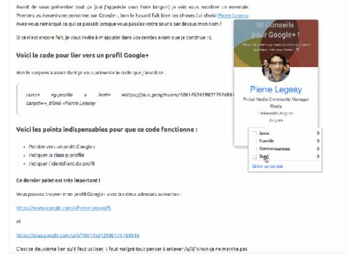 Mettre en avant un profil Google+